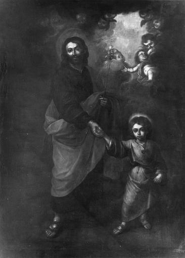 tableau : Saint Joseph et l'Enfant Jésus, huile sur toile, école espagnole, 17e siècle, après restauration