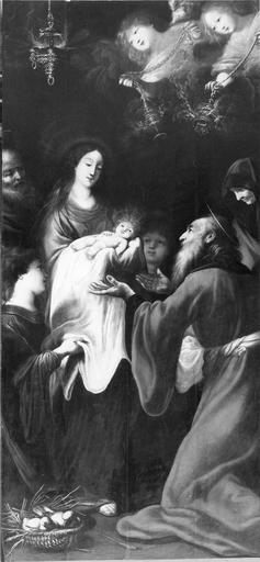 tableau : La Présentation au tempe, huile sur toile, 17e siècle par Claude Vignon, après restauration