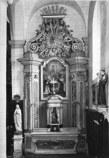 autel latéral de droite, bois doré et sa toile : Rosaire et scapulaire, 18e siècle