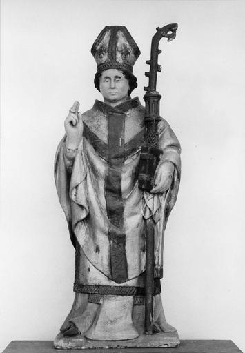 statue : Saint Claude, pierre polychrome, 16e siècle