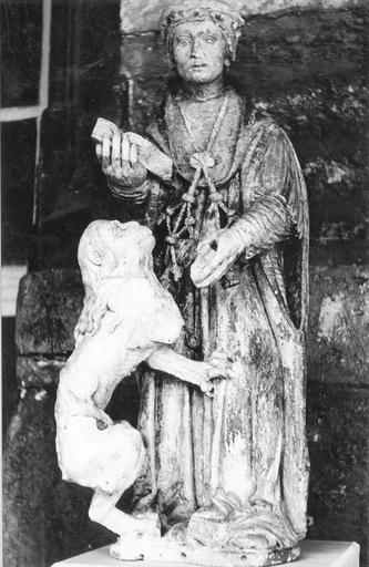statue : saint Jérôme, pierre polychrome, fin 16e siècle, après restauration