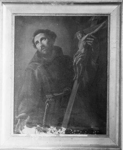 tableau : Saint François d'Assise, huile sur toile, 19e siècle et son cadre