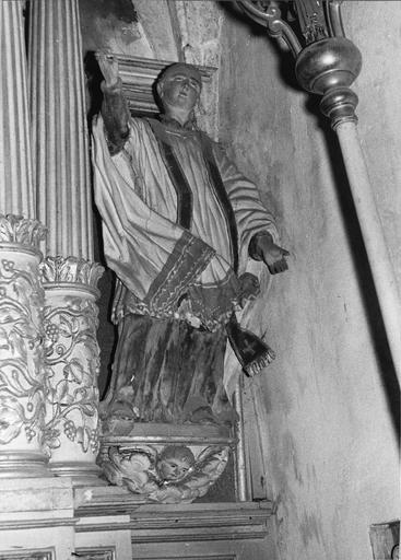 statue : saint prêchant, bois polychrome, 18e siècle