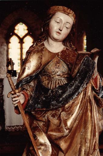 statue : Sainte au livre et à l'épée, après restauration