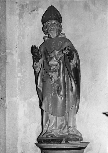 statue : Saint Augustin, bois polychrome et doré