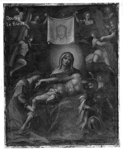 tableau : Vierge de Pitié et la Sainte Face, du retable du collatéral droit, 17e siècle, avant restauration