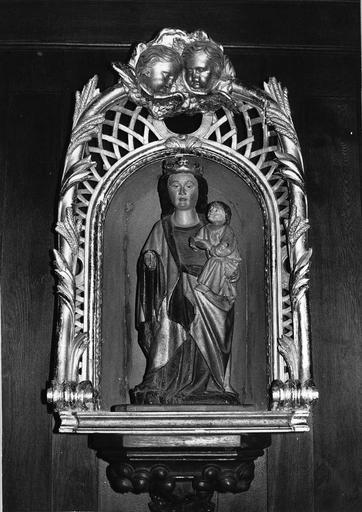 statue : Vierge à l'Enfant, bois polychrome, 15e siècle, décor sculpté, après restauration