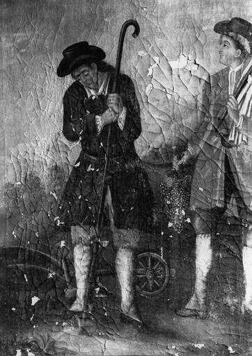 3e retable latéral sud, tableau : Saint Isidore et saint Vernier, huile sur toile, 18e siècle, détail