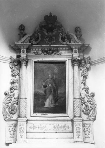 2e retable latéral sud, tableau : Saint Guérin, huile sur toile, 18e siècle