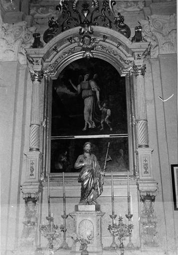 retable latéral nord avec tableau (huile sur toile) : l'Ange gardien, bois polychrome, 18e siècle