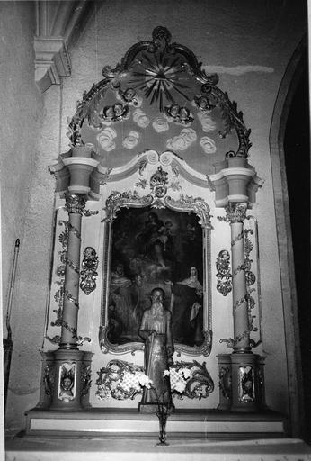 retable du bas-côté sud, bois sculpté et doré et son tableau : Les Mystères du Rosaire, 18e siècle