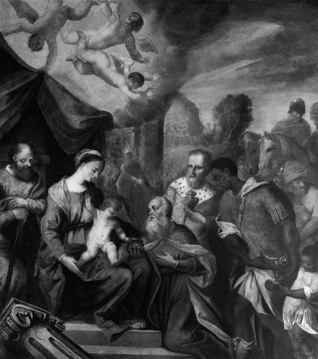 tableau : L'Adoration des Mages, huile sur toile, 17e siècle, après restauration