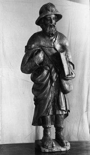 statue applique : saint Jacques, bois, 16e siècle
