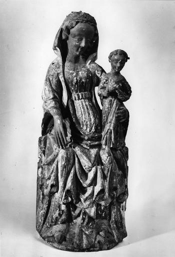 statue : Vierge à l'Enfant, bois sculpté polychromé, 15e siècle, école rhénane, vue de face