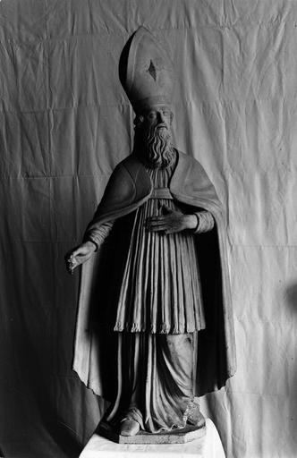 statue : saint évêque avec surplis, bois, début 18e siècle