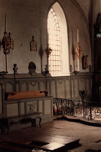 lambris du choeur, bois sculpté et peint, 18e siècle