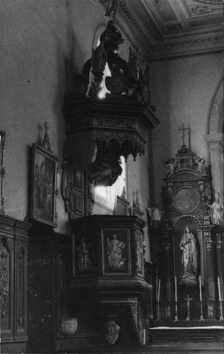 chaire à prêcher, bois sculpté et doré, 18e siècle