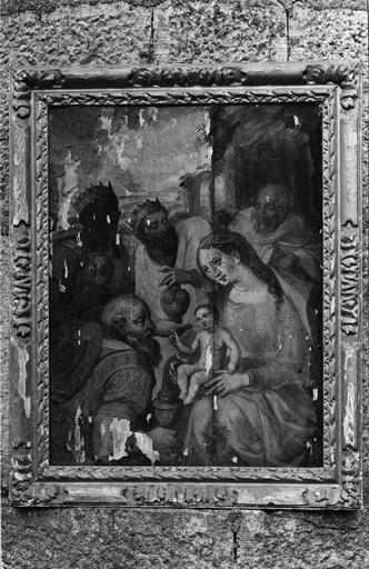 tableau (panneau peint) : L'Adoration des Mages et son cadre, début 17e siècle