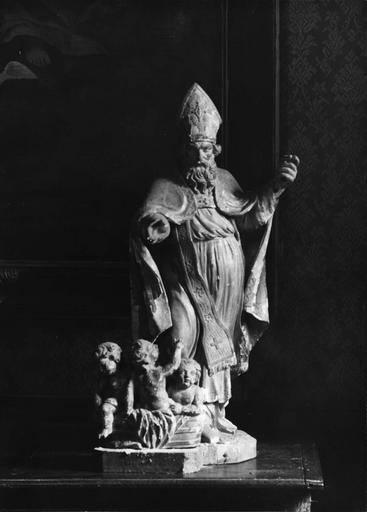 statue : Saint Nicolas, bois doré, 18e siècle
