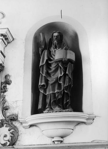 statue : Saint André, pierre polychrome, 18e siècle
