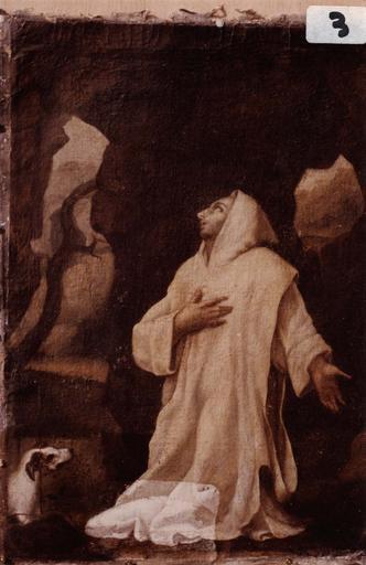 tableau du retable latéral sud, saint Dominique, en cours de restauration