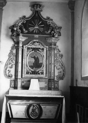 autel et retable latéral droit, bois sculpté et polychrome, tableau : Saint François Xavier, 18e siècle