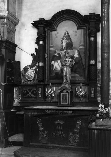 autel et retable latéral sud, tableau : L'Institution du Rosaire, 18e siècle et 19e siècle