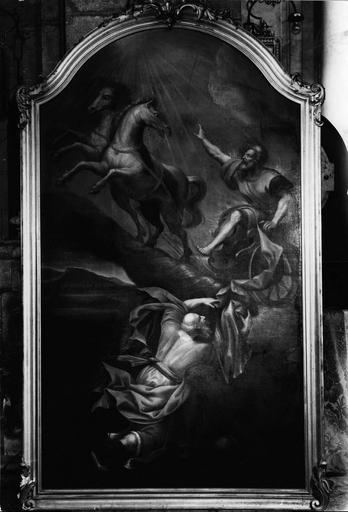 tableau : Le Char d'Elie, huile sur toile et son cadre en bois doré, 18e siècle