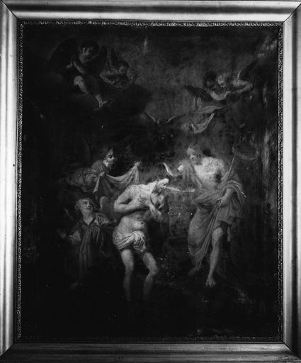 tableau : Le Baptême du Christ, huile sur toile, 18e siècle et cadre, 19e siècle