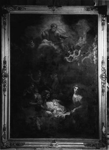 tableau : La Nativité, huile sur toile et cadre, 18e siècle