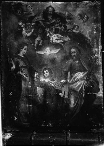 tableau : La Sainte Famille et la Sainte Trinité, huile sur toile, 18e siècle