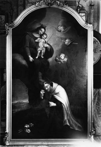 tableau : Vierge à l'Enfant donnant le scapulaire, huile sur toile et son cadre, bois sculpté et doré, 18e siècle