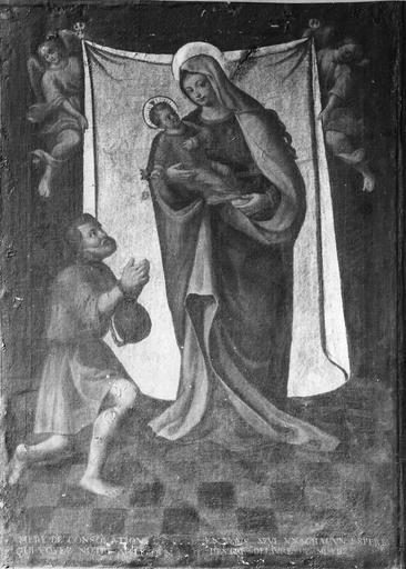 tableau : Notre-Dame de Consolation, huile sur toile et cadre bois sculpté et doré, 18e siècle, déposée au musée Granvelle, provient de l'église désaffectée de Saint-François-Xavier de Besançon