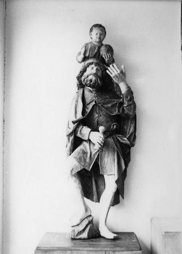 statue : saint Christophe, bois polychrome, 16e siècle, après restauration, 1979