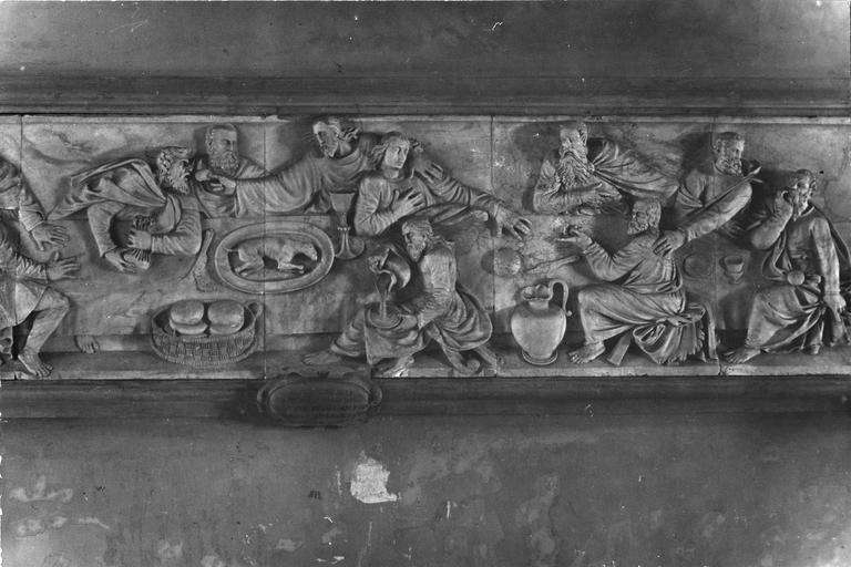 bas-relief : La Cène, par Claude Arnoux dit Lulier, marbre, 1560