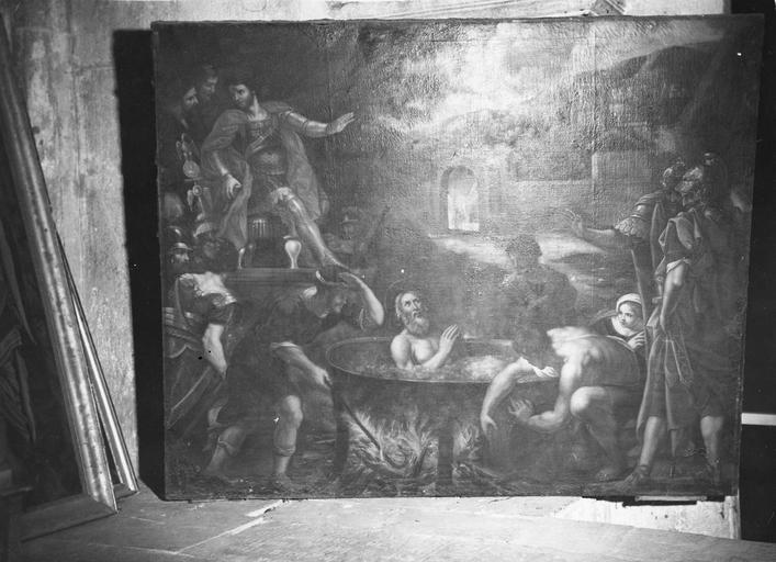 tableau : Le Martyre de saint Jean à la Porte Latine, huile sur toile, 17e siècle