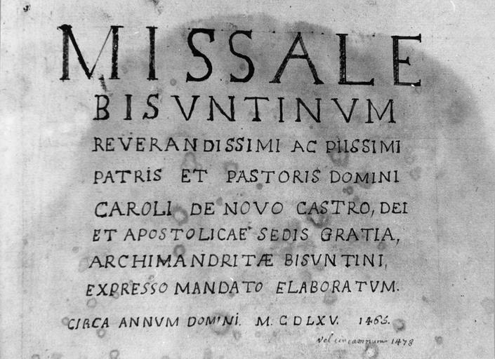 livre : missel dit de Charles de Neufchâtel, archevêque de Besançon, détail de la page de titre