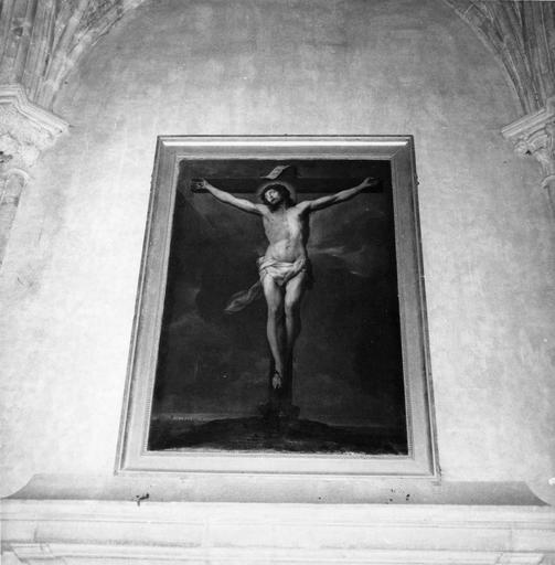 tableau : Christ en croix, huile sur toile, F. Trevisani, vers 1730