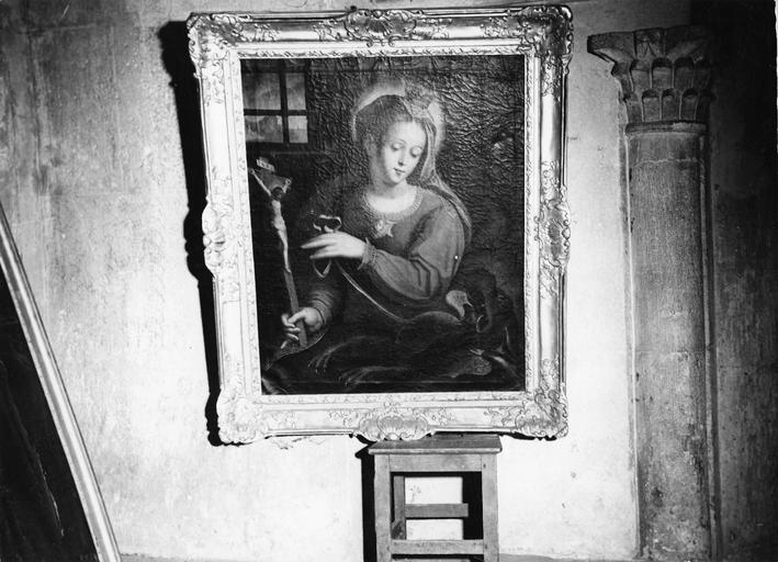 tableau : Sainte Marguerite, huile sur toile, fin 17e siècle