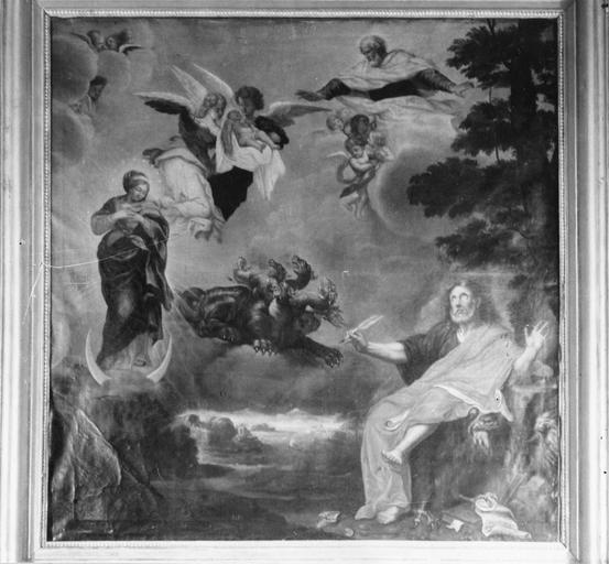 tableau : Saint Jean à Patmos, huile sur toile, attribuée à Jacques Joseph Baudot, 17e siècle