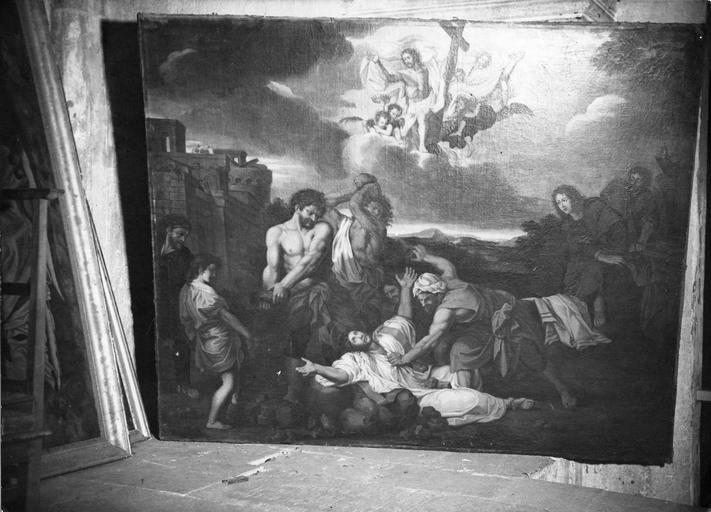 tableau : La Lapidation de saint Etienne, huile sur toile, signée Baudot, d'après Lebrun, 1678