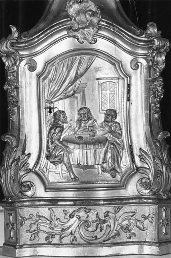 tabernacle, bois sculpté et doré, Les Pélerins d'Emmaüs, 18e siècle