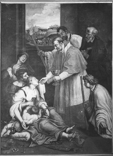 tableau : Saint Charles Borromée communiant les pestiférés, attribué à J. Etienne Baudot, 17e siècle
