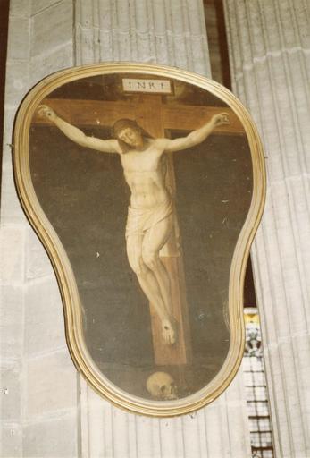tableau (panneau peint) : Christ en croix, attribué à Pourbus le Jeune, 17e siècle