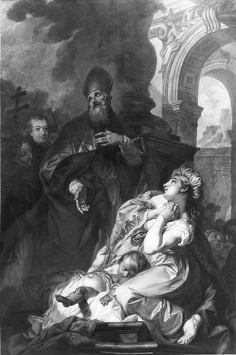 tableau : Saint Claude ressuscitant un enfant, huile sur toile, 18e siècle, après restauration