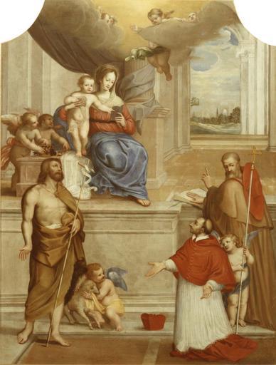 Tableau : Vierge à l'Enfant, saint Jean-Baptiste, saint Charles Borromée, saint Bonaventure, huile sur toile par Rately, 1636, après restauration