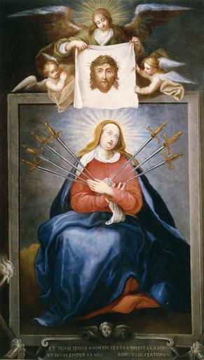 tableau : La Sainte Face et Notre-Dame des sept Douleurs, huile sur toile, 17e siècle, après restauration