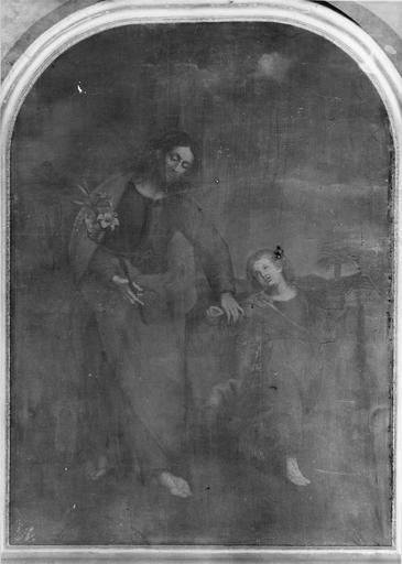 tableau : Saint Joseph et l'Enfant Jésus, huile sur toile, 18e siècle