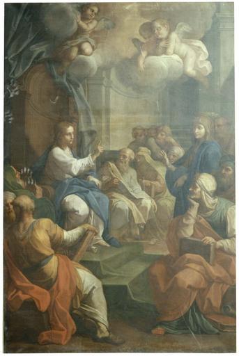 tableau : Jésus au milieu des Docteurs, huile sur toile, par Placido Costanzi, pour l'abbaye des Dames de Baume-les-Dames, 1759, avant restauration