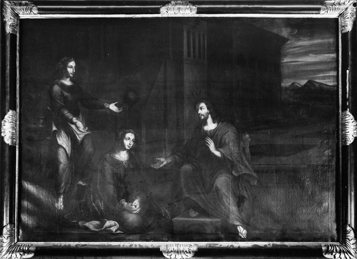 tableau : Le Christ chez Marthe et Marie, huile sur toile, début 17e siècle